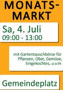 Plakat Monatsmarkt Juli 2020