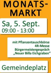 Plakat Monatsmarkt September 2020