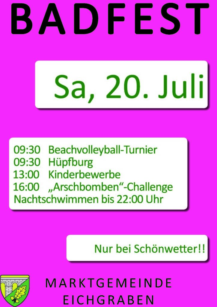 Plakat Badfest Juli 2019