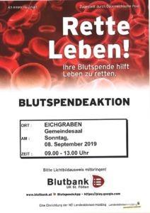 Plakat Blutspenden September 2019