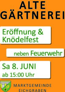 Plakat Eröffnung Alte Gärtnerei