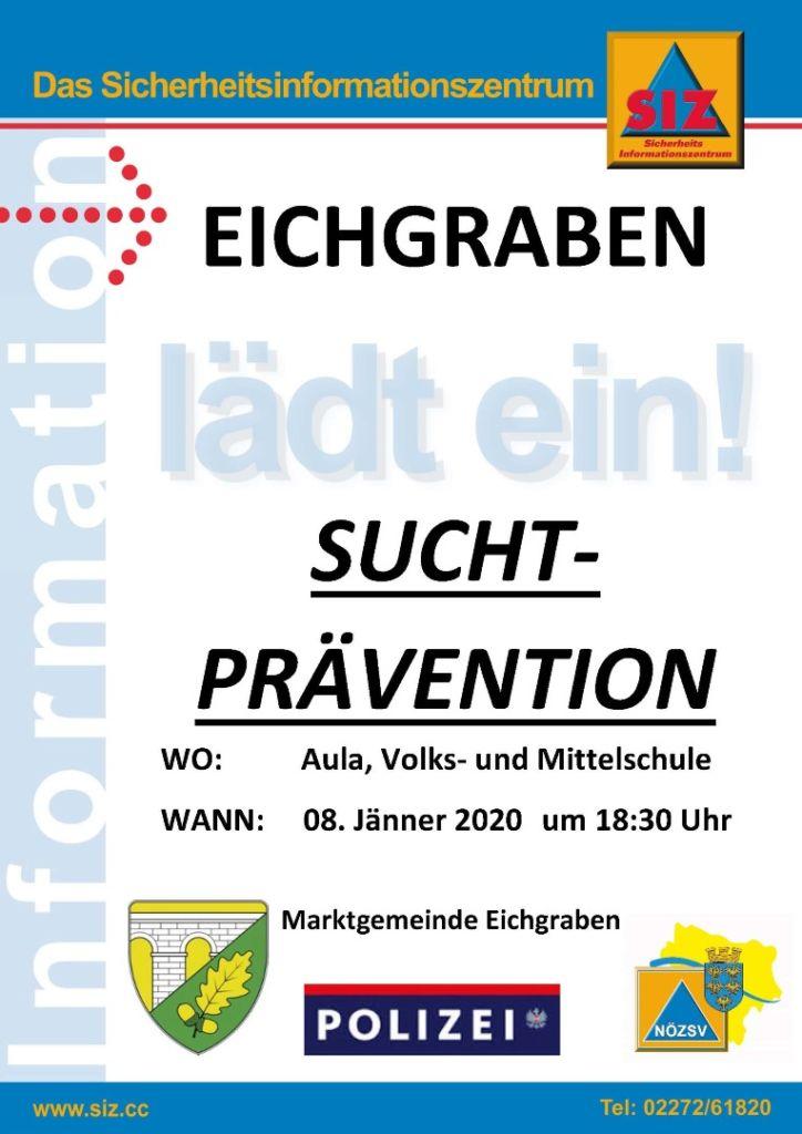 Plakat Suchtprävention 8 Jänner 2020