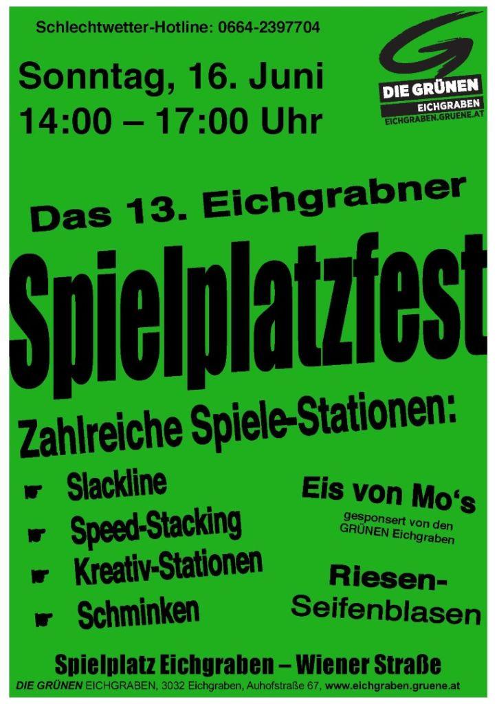 Plakat Spielplatzfest 2019 Gruen