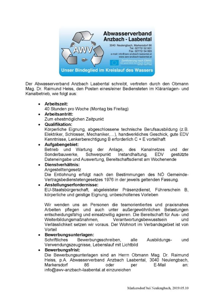 Stellenausschreibung Mai 2019 Abwasserverband