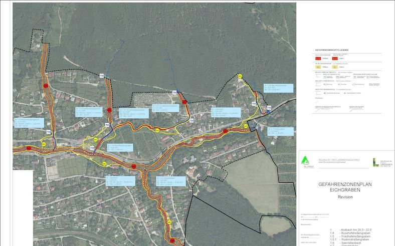 Beispiel Gefahrenzonenplan – der Auszug umfasst den Bereich Friedhof / Christbaumkultur und einen Teil des Ortsteils Hutten